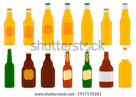 Illustration on theme big kit beer glass bottles with lid for brewery. Pattern beer consisting of many identical glass bottles on white background. Glass bottles it main accessory for beer gourmet. Stok fotoğraf ©