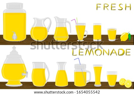 Illustration on theme big kit different types glassware, lemonade in jugs various size. Glassware consisting of organic plastic jugs for fluid lemonade. Jugs of lemonade it glassware on wooden table.