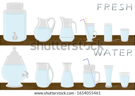 Illustration on theme big kit different types glassware, water in jugs various size. Glassware consisting of organic plastic jugs for fluid water. Jugs of water is glassware standing on wooden table.