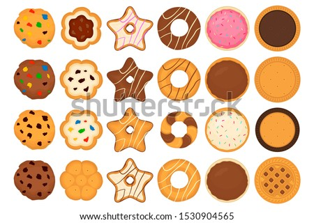 Illustration on theme big set different biscuit, kit colorful pastry cookie. Cookie consisting of collectible natural tasty food biscuit, pastry accessory. Eat fresh pastry biscuit from sweet cookie. Photo stock ©