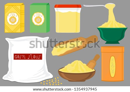 Illustration on theme big set different types dishware filled corn flour. Corn flour pattern consisting of collection dishware for organic cooking. Tasty corn flour in eco dishware for menu gourmet.