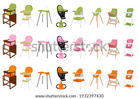 Illustration on theme colorful modern child high chair for baby feeding. Drawing consisting of collection colored layouts child chair on high legs. Kit stylish child accessory it bright high chair. Stock foto ©