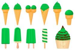 Illustration on theme Irish holiday St Patrick day, big set icecream. Pattern St Patrick day consisting of many different icecream on white background. Icecream it main accessory for St Patrick day.