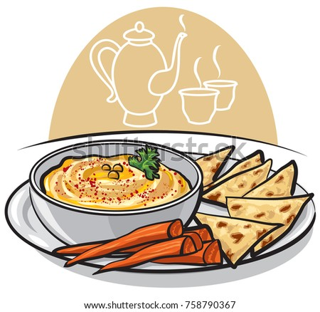 illustration on traditional eastern dish humus with pita on plate