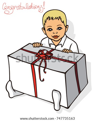 illustration on white background little baby boy sitting with big gift box and inscription