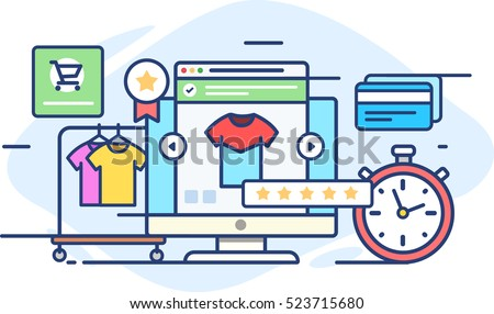 Illustration online fashion store with five-star rating in flat style on white background