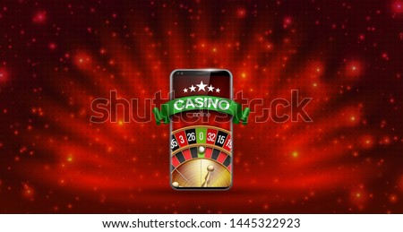 illustration Online Poker casino banner with mobile phone and roulette. Marketing Luxury Banner Jackpot Online Casino with New model Smartphone and roulette Advertising poster with red background