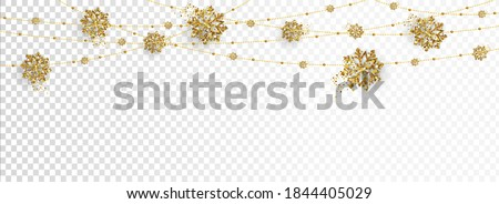 Illustration or Christmas posters, banners golden decoration isolated on png background. Hanging glitter balls, snowflakes.