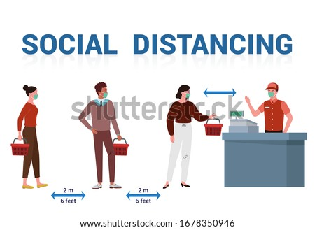 illustration or vector of several people who use masks are queue to shop at supermarkets and do social distancing