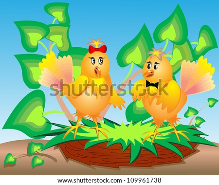 illustration pair birds in jack on branch