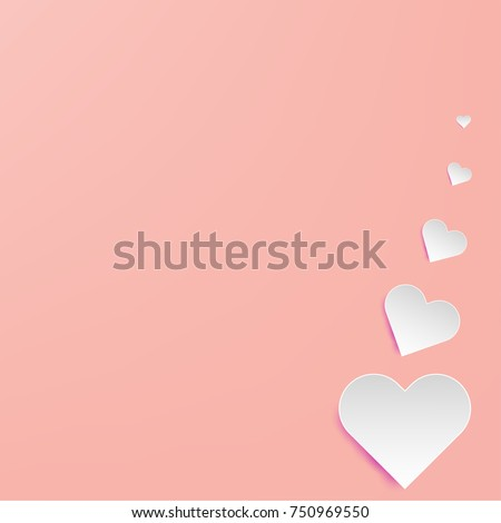 Illustration paper art of white hearts float on soft pink background using for Valentine day, love, couple background concept,  paper art, paper cut and craft style. #750969550