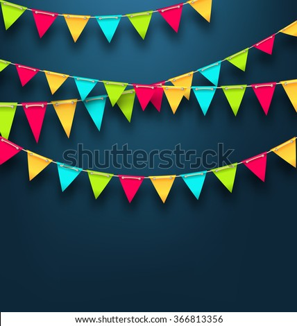 Illustration Party Dark Background with Bunting Flags for Holidays. Template for Poster, Signage, Postcard - Vector Foto stock ©