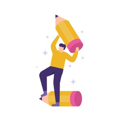 illustration people hold and lift a pencil. the concept of creative and innovative employees, full of ideas, good and smart. flat design. can be used for elements, banners, landing pages, UI.