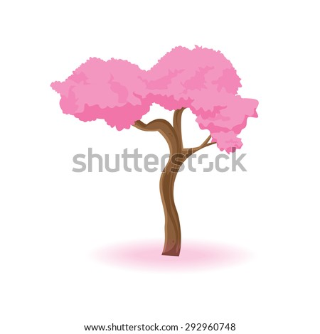 illustration pink tree on