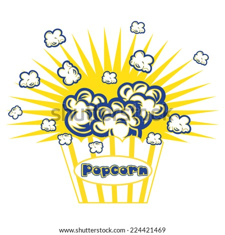 Illustration Popcorn in striped bucket on white background boom