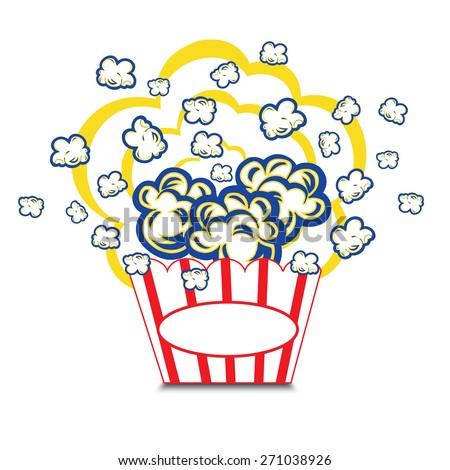 illustration popcorn in striped