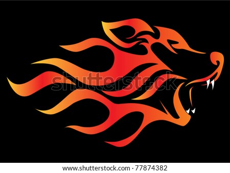 illustration profile wolf on black aflame
