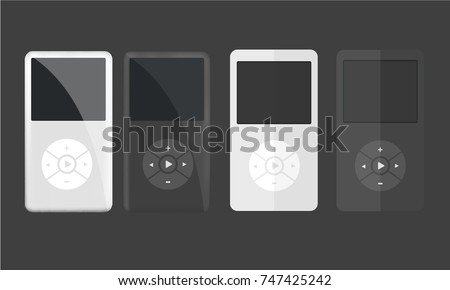 Illustration Realistic and Flat design with Portable Multimedia Players with blank screen White and Black colors with Dark background