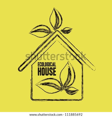 Illustration recycling, ecological grunge house with leaves, vector illustration