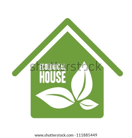 Illustration recycling, ecological house with leaves, vector illustration