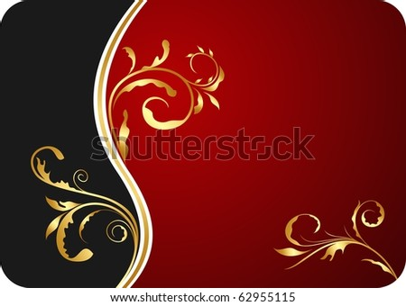 Illustration red floral business card and invitation - vector