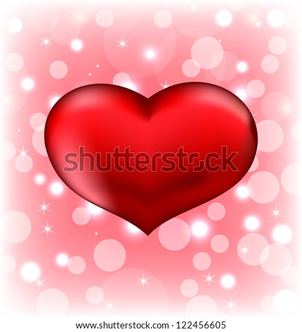 Illustration red heart, Valentine glowing background - vector