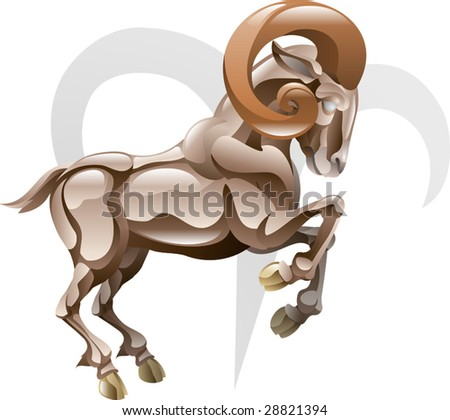 Illustration representing Aries the ram star or birth sign. Includes the symbol or icon in the background