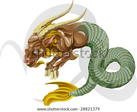 Illustration representing Capricorn the sea goat star or birth sign. Includes the symbol or icon in the background