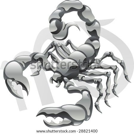 Illustration representing Scorpio the scorpion star or birth sign. Includes the symbol or icon in the background