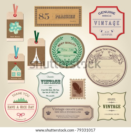Illustration Retro Label Bookmarks Tags for Stickers Vector Illustration