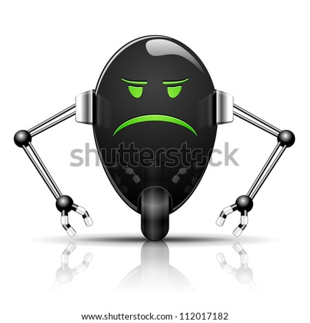 Illustration Robot Evil Egg funny cartoon on white