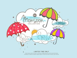 Illustration,sale banner,sale poster for Monsoon season raining drops,colorful umbrella with text space background.