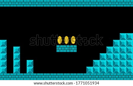Illustration scene of famous old video game, the retro styled of screenshot familiar underground background