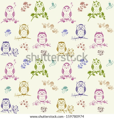 Illustration seamless pattern Silhouette cute owls