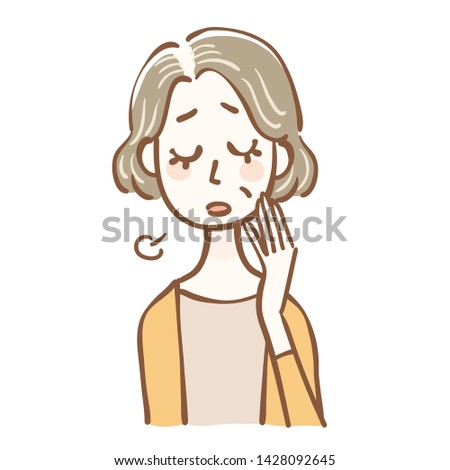 Illustration senior women who suffer from thinning hair