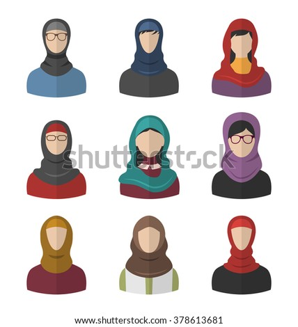 illustration set arabic women