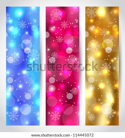 Illustration set Christmas wallpaper with snowflakes - vector