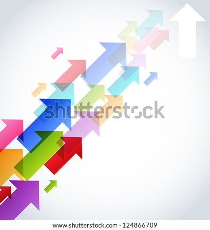 Illustration set colorful arrow, abstract background - vector
