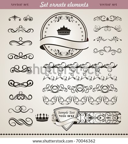 Illustration set floral ornate design elements (2) - vector