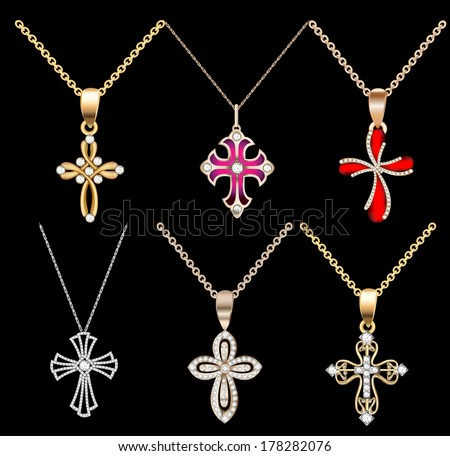 illustration set gold cross