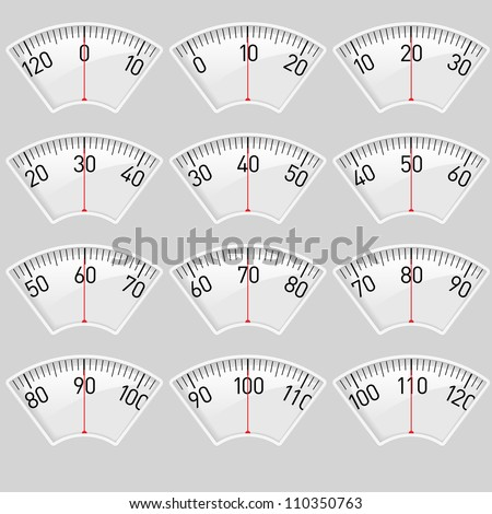 Illustration set of a Scale for a Weighing Machine