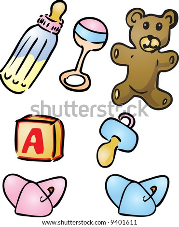 Illustration set of baby items: bottle, rattle, teddybear, alphabet bloc, pacifier, diapers
