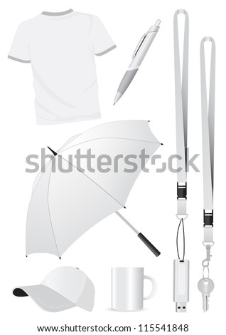 Illustration set of blank mock-up promotional gifts. All vector parts are isolated and grouped. Colors are easy to customize.