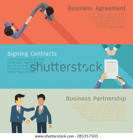 Illustration set of business concept in agreements, handshake, corporation, signing contracts, partnership. Flat design.