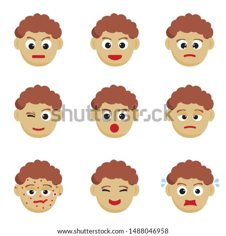 Illustration set of facial expressions of a boy