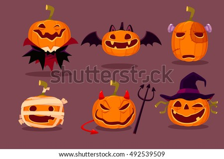 illustration set of halloween