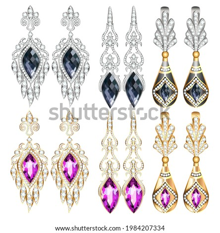 Illustration set of jewelry earrings with precious stones isolated on white background.  Stock photo ©