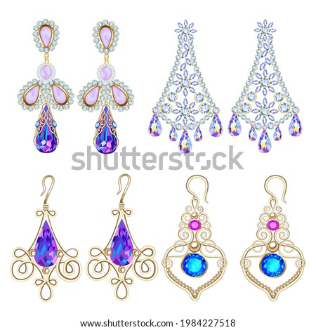 Illustration set of jewelry earrings with precious stones isolated on white background.  Сток-фото ©