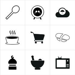 Illustration set of mixed icons isolated on white background