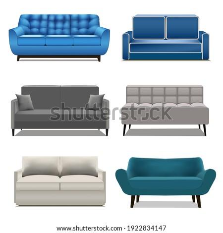 Illustration set of modern sofas for the interior isolated on white background.  Foto stock ©